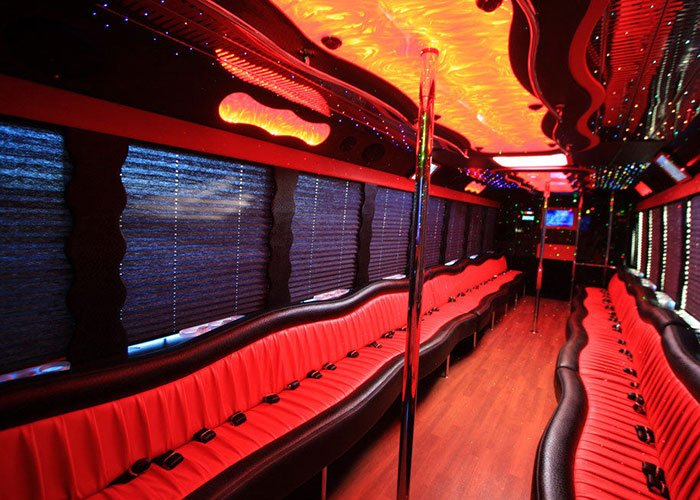 30-32 passenger party bus interior