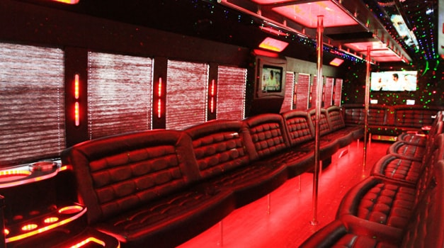 40 passenger party bus interior