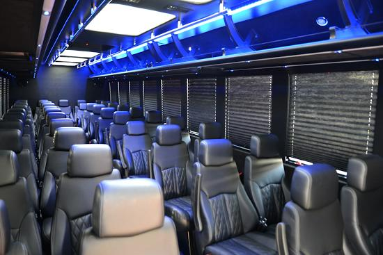 43 passenger executive party bus interior